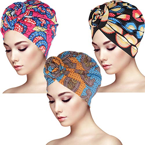 Bolonbi 3 Piezas de Envoltura de Cabeza,Turbante con Diseño Africano,Sombrero Turbante con Nudo para Mujer y Niña,Estilo de Bohemio ⭐