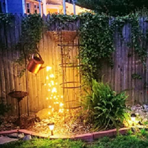 Solar Star Shower Garden Art LED Light with Stake Firefly Bunch Lights Fairy Copper Wire Waterproof String Lights, Vine Solar Watering Can Lights Outdoor Garden Eid Mubarak Easter Metal Decor Lights