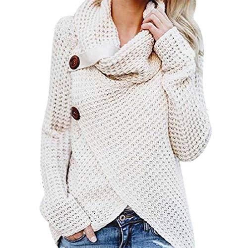 VECDY Damen Bluse | Weihnachten Geschenke | Frauen Langarm Solid | Sweatshirt Pullover | Tops | Bluse |T-Shirt | Elegantes Hemd mit | Knopfleiste | Hoodis | Karierter Pullover | Oben (40, Weiß)