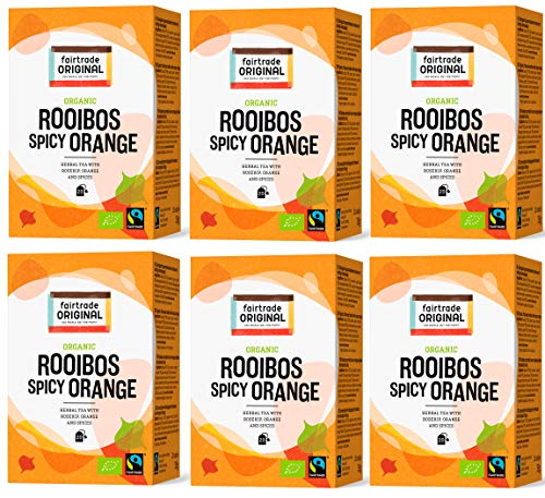 Rooibos Orangen Tee von Fairtrade Original | 120 Teebeutel | Set 6 x 20 Beutel = 210 g | 100 % Roibush mit Gewürzen im Beutel | Bio und Fair Trade | Tee Beutel einzeln verpackt