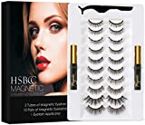 Updated 3D 6D Magnetic Eyelashes and Eyeliner Set- 2 Tubes of Magnetic Eyeliner & 10 Pairs Magnetic Eyelashes Kit-With Natural Look & Reusable False lashes -No Glue Need