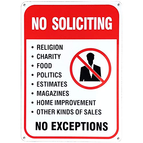 MiraCase No Soliciting Sign, Rust Free Aluminum Warning Sign for Home and Business - Large Sturdy 10 x 7 Inch Weatherproof Heavy Metal Sign for Outdoors