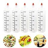 SQYX Squeeze Bottle 250ml,Botella de Salsa de plastico,Botella biberon plastico pequeña,dispensador de Botellas de Recambio vacío,para Condimentos,Salsa de Tomate,Aceite De Oliva (5PCS)