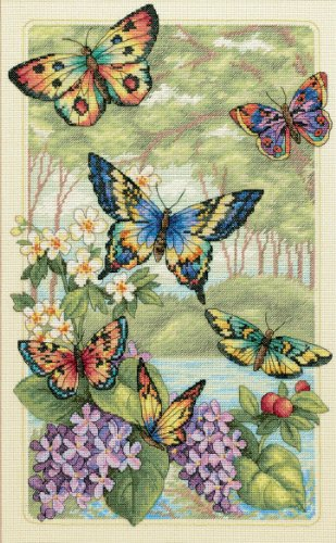 Dimensions Gold Collection Counted Cross Stitch Kit, Butterfly Forest, 14 Count Ivory Aida, 16'' x 10''