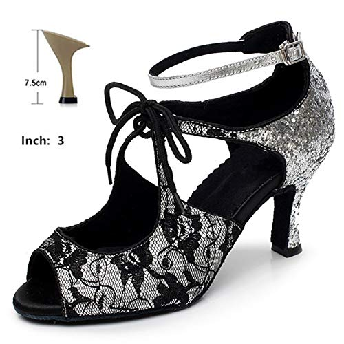 HOAPL Vrouwen Dancing Shoes Latin Ballroom kant paillettes vrouw van Salsa Samba Waltz Party schoenen 6 cm 7,5 cm 8 cm 10 cm sandalen