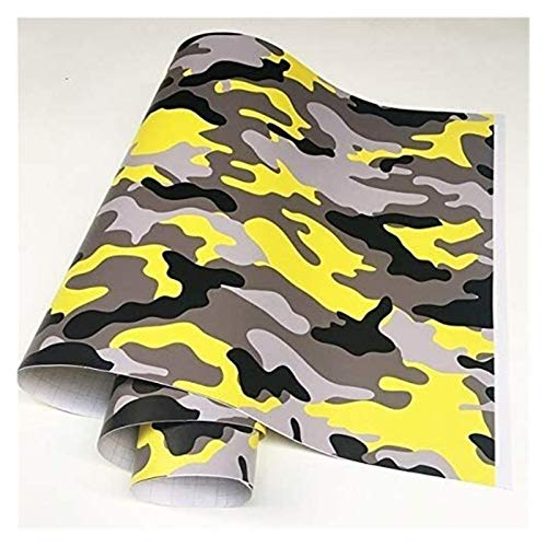 TTW Stickers Black Grey Camo Camouflage Vinyl Car Wrap Sticker Film Foil Decal for Bike Console Computer Laptop Skin Scooter Motorcycle (Color : Yellow Black, Size : 30cmx150cm)