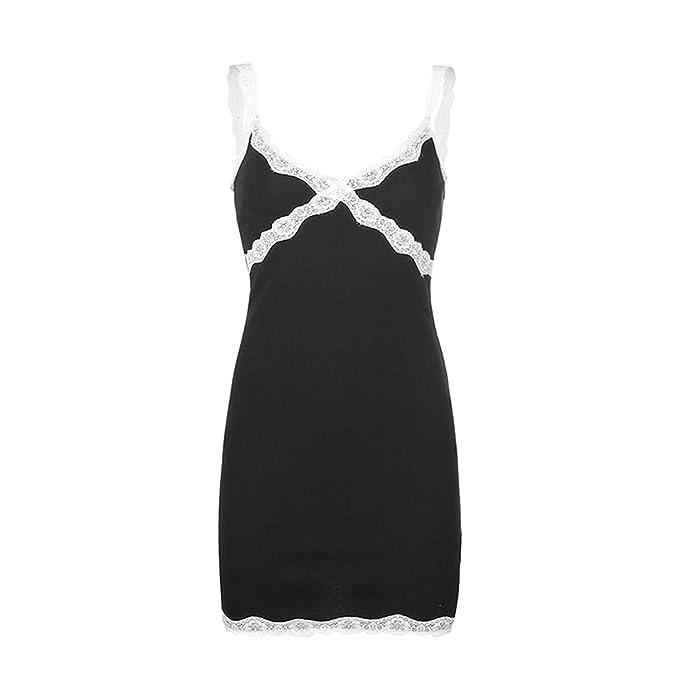 YAHUIPEIUS Y2K Lace Trim Floral Printing Party Cami Dresses E-Girl Spaghetti Strap Dress