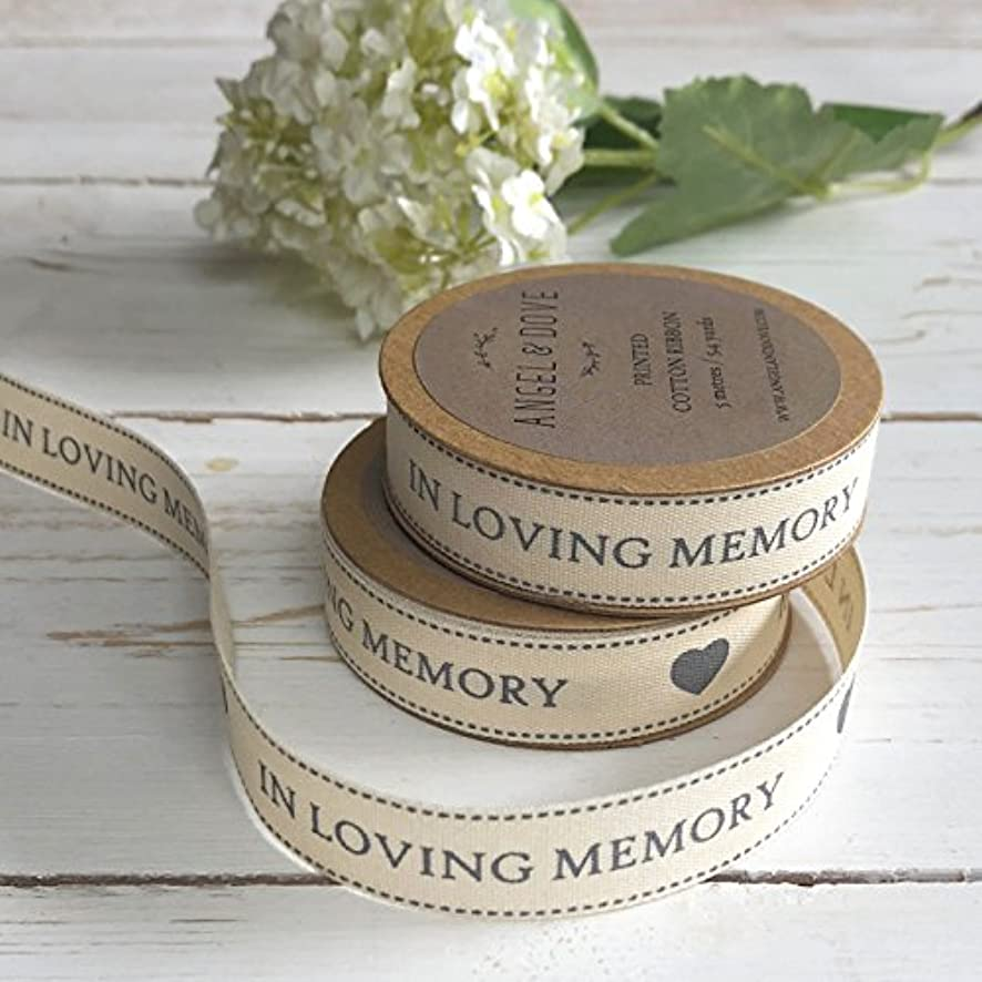 ANGEL & DOVE 'in Loving Memory' Printed Cotton Ribbon - 5.4 Yards on Kraft Card Reel - Ideal for Funeral Favours, Sympathy Gift Baskets