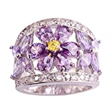 Psiroy Women's 925 Sterling Silver Created Amethyst Filled Flower Knuckle Ring Band Size 7