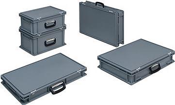 Lockweiler Caja de plástico L600xB400xH88mm PP 1 asa cierre de cremallera gris 15l