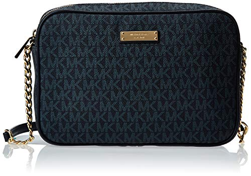 Made of Signature PVC with smooth leather trim; Zip top closure; 1 open large compartment 2 Slide pockets; Adjustable Chain and Leathershoulder strap of25.5 inches drop Logo jacquard lining; Goldhardware Measurements: Length: 9 x Height: 6 x Width...