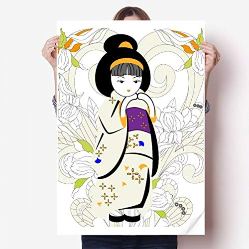 DIYthinker Japan Kimono meisje patroon Vinyl muur Sticker Poster muurschildering behang kamer Decal 80X55Cm