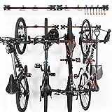Soporte de pared para bicicleta Soporte para garaje, soporte vertical para bicicleta, soporte para bicicletas, cascos, herramientas, soportes para bicicletas de monta?a, 10 ganchos ajustables