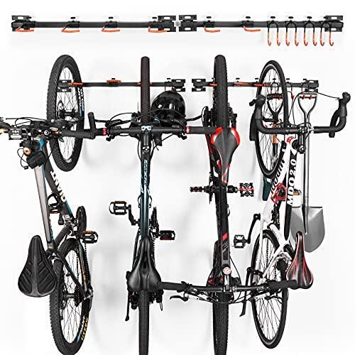 Fahrrad Wandhalterung Fahrradständer Wandmontage Garage Aufhänger, Vertikale Wand Fahrradaufhängung für Fahrräder, Helme, Werkzeuge, Mountainbike Halter 10 Verstellbare Haken