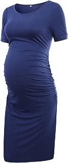 Liu & Qu Women's Maternity Bodycon Ruched Side Dress Casual Short & 3/4..