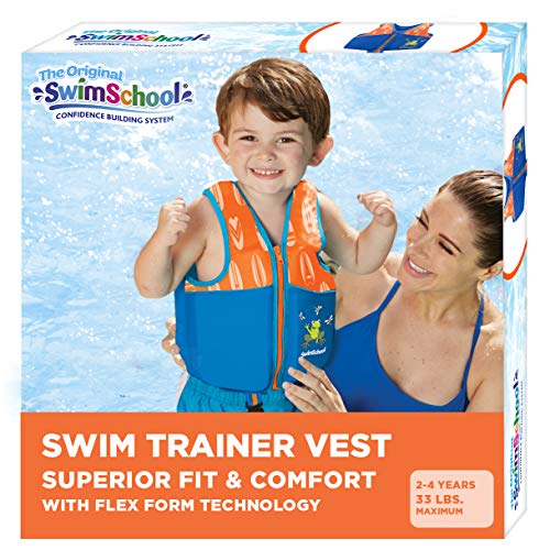 SwimSchool New & Improved Swim Trainer Vest, Flex-Form Design, Padded Shoulders and Adjustable Safety Strap, Easy On & Off, Small/Medium, Up to 33 Lbs., Blue/Orange (AZV18863ML-Parent)