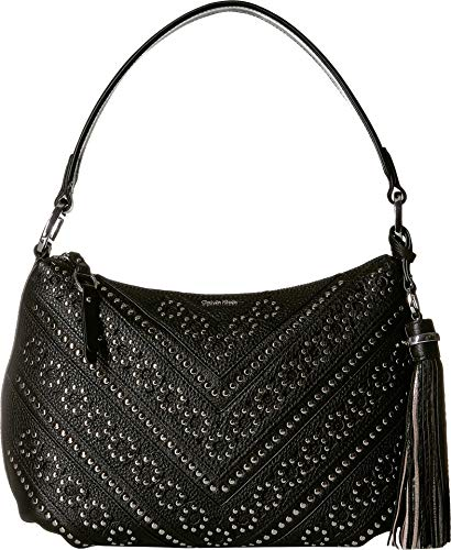 Deliver a little rock-and-roll inspiration to your ensemble with the Calvin Klein® Embellished Hobo handbag. Faux-leather construction with metal stud detail. Zipper closure. Shoulder strap. Exterior boasts back zipper pocket and tassel decor. Flat b...