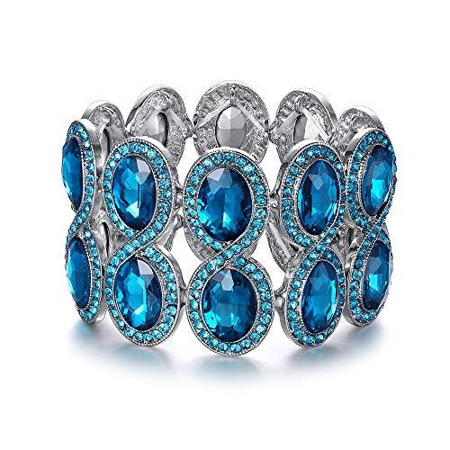 EVER FAITH Women's Rhinestone Crystal Art Deco Wedding Brides Elastic Stretch Bracelet Sea Blue Silver-Tone