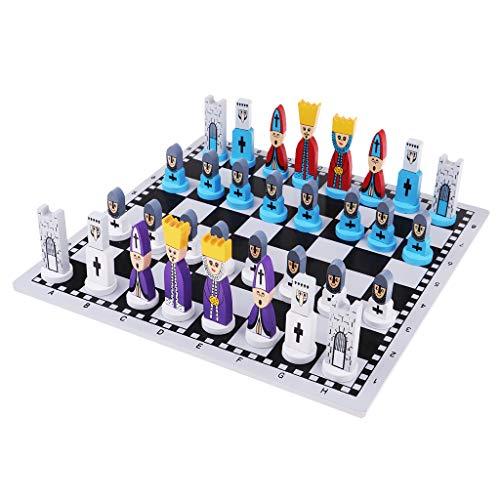B Blesiya Internationales Schachspiel Schachbrett Schachfiguren Set für Kinder