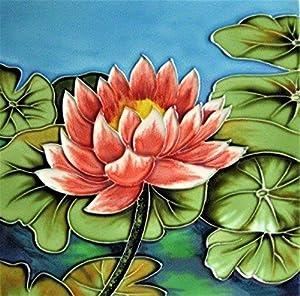 "Continental Art Center BD-2386 8""x8"" Art Tile- Red Lotus in Lotus Pond"