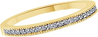 White Natural Diamond Wedding Anniversary Band Ring in 14k Solid Gold (0.12 Cttw)
