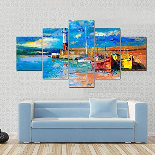GONGXIANG Painting 5 Piezas Cuadro sobre Lienzo Hermoso Faro Y Barcos En Impresión Pinturas Murales Decor Dibujo con Marco Fotografía para Oficina Aniversario 80X150Cm