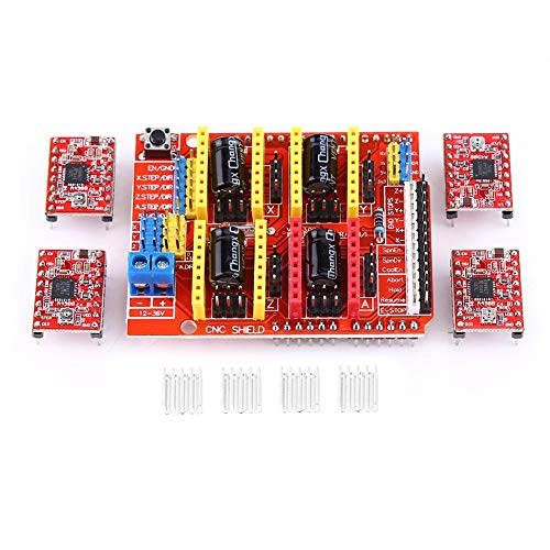 Teror CNC Expansion Board,CNC Shield Expansion Board+4Pcs A4988 Stepper Motor Driver For Engraver 3D Printer