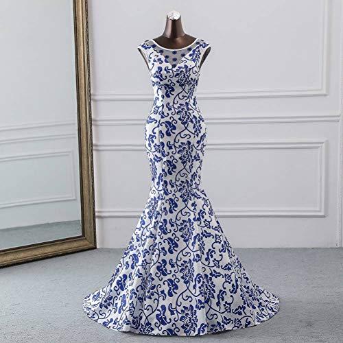 BINGQZ Noche Vestidos/China Elemento Vestido de Noche Azul Flor Elegante Vestido de Fiesta Vestido de Sirena Vestido de Noche Bata Larga Soiree