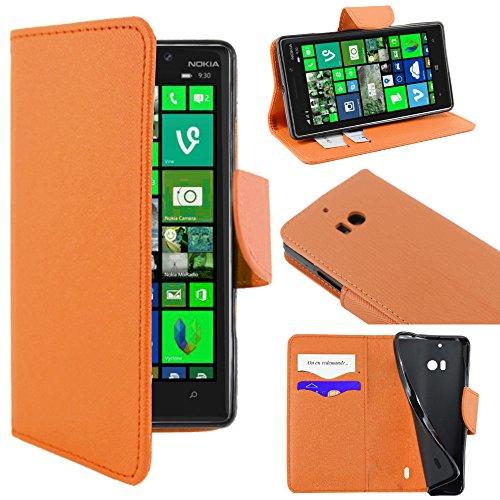 ebestStar - kompatibel mit Nokia Lumia 930 Hülle Kunstleder Wallet Hülle Handyhülle [PU Leder], Kartenfächern, Standfunktion, Orange [Lumia 930: 137 x 71 x 9.8mm, 5.0'']