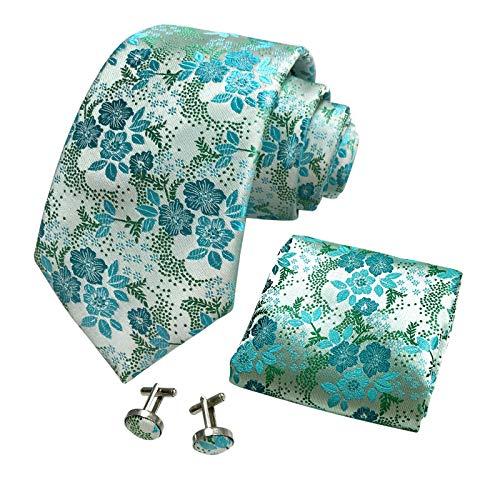 CANGRON Conjunto de corbata de hombre verde menta floral con corbata con bolsillo cuadrado Gemelos Giftbox DLSH8QL