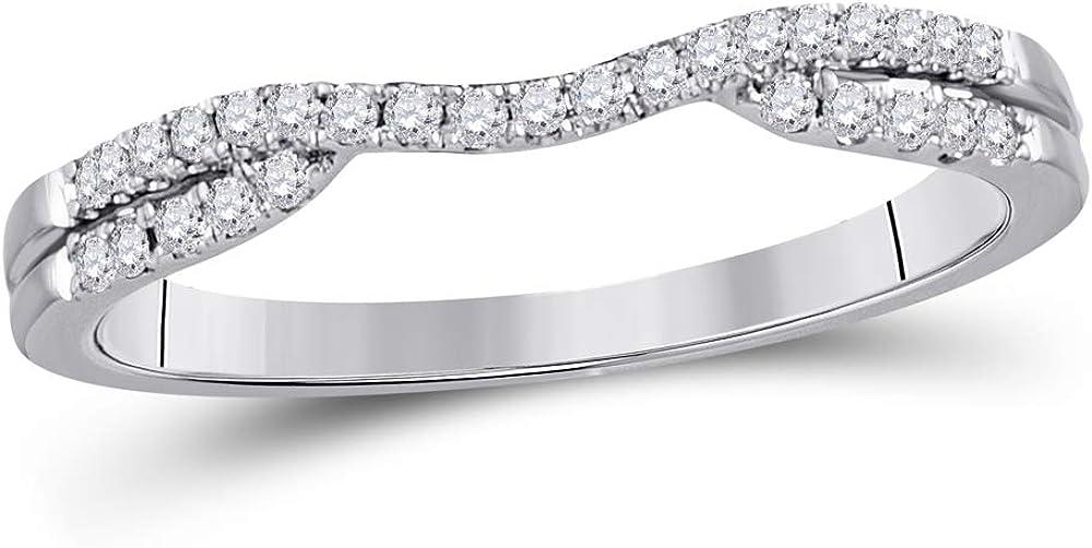 14kt White Gold Womens Round Diamond Contour Wrap Ring Guard Enhancer 1/6 Cttw
