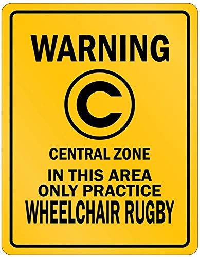Fhdang Dekoschild aus Aluminium mit Aufschrift Warning In This Area only Practice, Rollstuhl, Rugby, Sport Parken, Metall, Multi, 6x9 inches