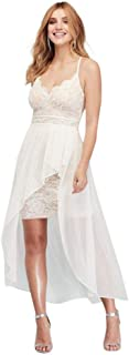 Scalloped Lace Plunging-V Mini Dress with Overlay Style...
