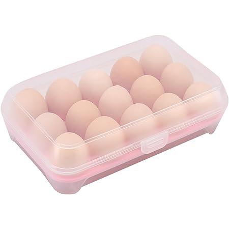 Chytaii Boîte à Oeufs Support d'Oeufs Boîte de Rangement Alimentaire en Plastique Organisateur Conservation pour Oeufs dans Réfrigérateur Cuisine (Rose)