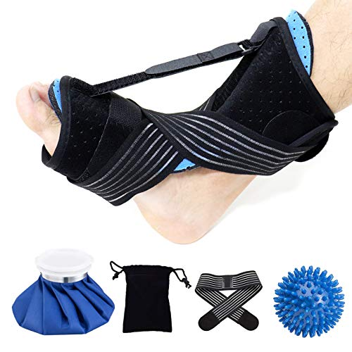 2021 Updated Version Plantar Fasciitis Braces, Foot Drop Orthotic Brace for SleepAdjustable Plantar Fasciitis Night Splint for Relief Plantar Fasciitis,Heel, Ankle, Arch Foot Pain with Ice Bag