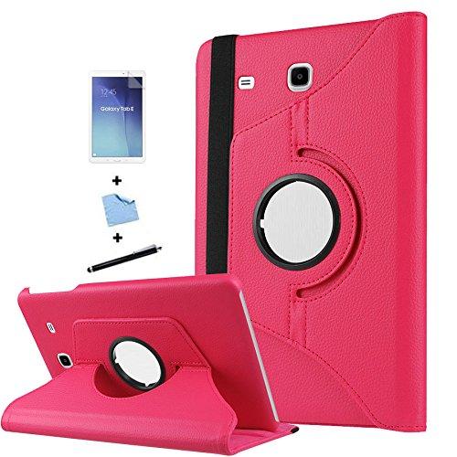TIODIO 4 en 1 Case Cover Custodia per Samsung Galaxy Tab E 9.6-Inch SM-T560/SM-T561 Cover in Ecopelle con Meccanismo di Rotazione di 360° per Posizionamento Verticale ed Orizzontale del Tablet,Pellicola di Protezione e dello stilo Incluse, Magenta