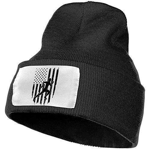 Miedhki Gorra de Punto 100% acrílico Unisex, Running Sprinter American Flag Cute Beanie Hat