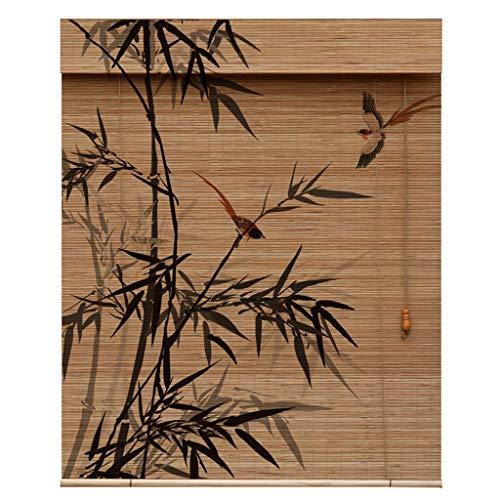 Persianas enrollables de cortina de bambú carbonizado, cortinas de entrada retro Zen, cortinas de bambú de fondo de partición, cortinas de pintura decorativa artística de salón de té chino y japonés