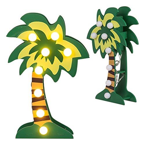 Grüne ''Palme'' mit 8 warmweißen LED | Wohnaccessoire | Tischleuchte | Kinderzimmer Deko | Geschenkidee für Freunde | Geschenk für Frauen | Preis am Stiel®