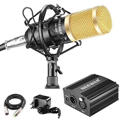 Neewer - NW-800 90088373 - Micrófono 48V Fuente Phantom con Adaptador de Corriente, Montaje de Choque, Cubierta de Espuma Anti-Viento, Cable de Audio XLR y Fuente de Alimentación - Color Negro