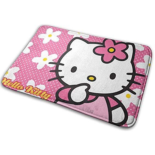 Liumt Antislip Welcome Fußmatte Hello Kitty mit Flower Indoor Outdoor Eingangsteppich Fußmatten Schuhabstreifer 40cm x 60cm
