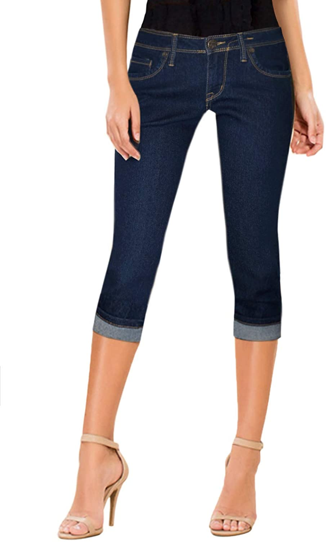 Hybrid & Company Women's Denim Capri Stretchy 19 inch/17 inch Cuffed