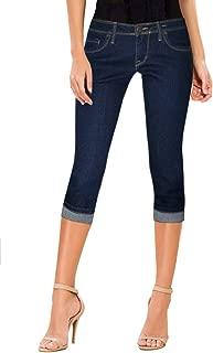 Women's Denim Capri Stretchy 19 inch/17 inch Cuffed