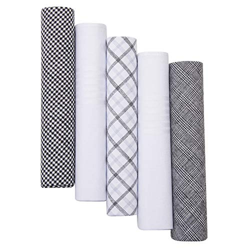 "Perry Ellis Metalic Silver Gift Box With 5 100% Cotton Handkerchiefs (Pattern #1-2 White, 3 Color, 16"" x 16"")"