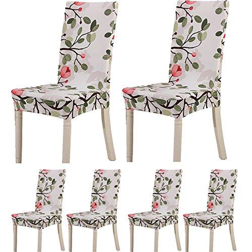 Teerfu – 6abnehmbare, waschbare, kurze Stretchhussen aus Elastan, für Esszimmer- und Bankettstühle, geeignet für Hotels und Hochzeiten Color 9