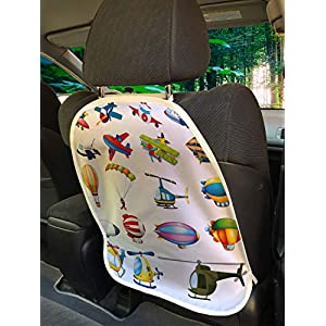 Lunarable Nursery Car Seat Protector Set of 2, Different Types of Air Travel Cartoon Plane Zeppelin Helicopter Glider Artwork, Universal Kick Mat for Dirt Mud & Scratches, 18″ x 24″, Multicolor