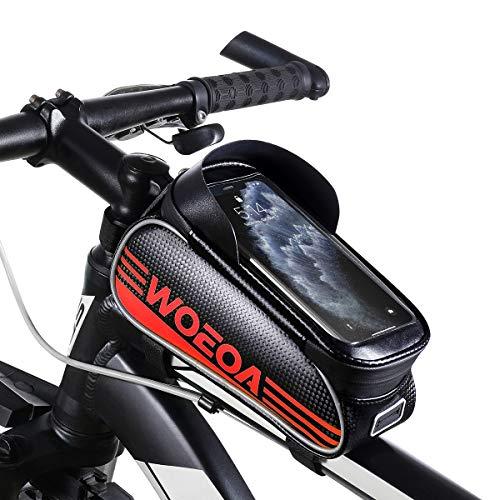 """WOEOA Bolsa Bicicleta Manillar para Ciclista Ciclismo, Bolsa Bici de Montaña con Soporte para Telefono Impermeables con Pantalla Táctil para iPhone Samsung Note etc. 4.5""""-6.7"""" (Rojo)"""