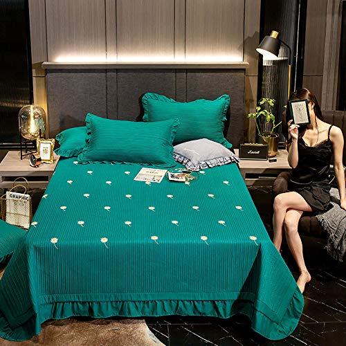 Juego de colcha de cama, diseño geométrico reversible, manta de dormitorio es suave y agradable al tacto, color verde crisantemo_2 fundas de almohada