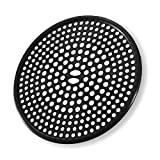 304 Stainless Steel Hair Catcher Shower Drain Cover with Silicone, Shower Stall Drain Strainer, Bathtub Hair Stopper, Bathroom Hair Trap Floor Drain Protector, Matte Black 4.33 Inches Round Flat