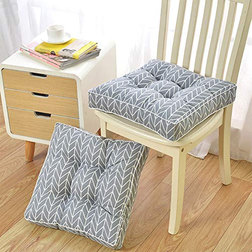 LISEPT Set Of 2 Booster Cushion Thick Square Seat Pad,Cotton And Linen Cozy Printed Padded Cushion Floor Cushion INDOOR OR OUTDOOR M 45x45x10cm